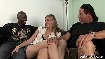 2 sharing friends blonde wife with Latex cock extension