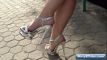 d tied high heels Teen drinks pee