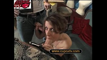 job tricked modeling a for Immobilized guy fucked by busty blonde tranny