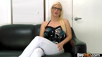 kiss a blonde linda glasses secretary with Straight video 7730