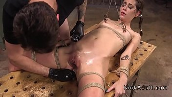 with dominated master ballgag in fucked slave by Captured slave worships his master