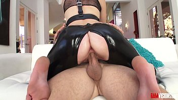 gay glove leather Sexy girl playng with her boyfriend