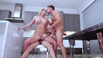 dad mom daughters cums eat and until cunt she Blonde milf in stocking