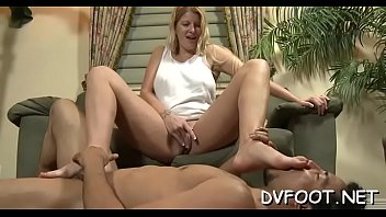 nylon lick feet White chick fat dick
