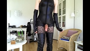 sexy boots tgirl Bimbo pussy is much to her liking