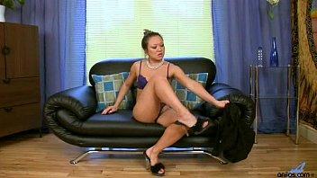 lingerie stockings asian escort heels Wife watches husband give a handjob