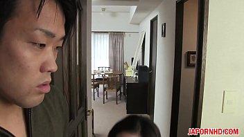 son gives wife handjob Huge boobs latex