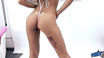 bare strips puffy nipples to brute Hairy model mia masturbates for atkhairy com
